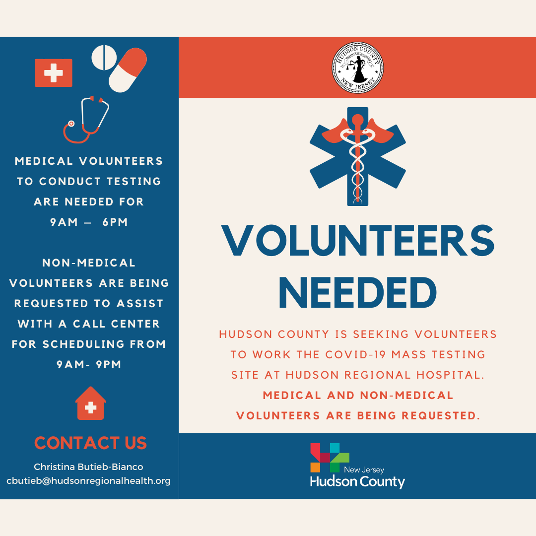 Volunteers Needed - Secaucus Testing Site - March 2020