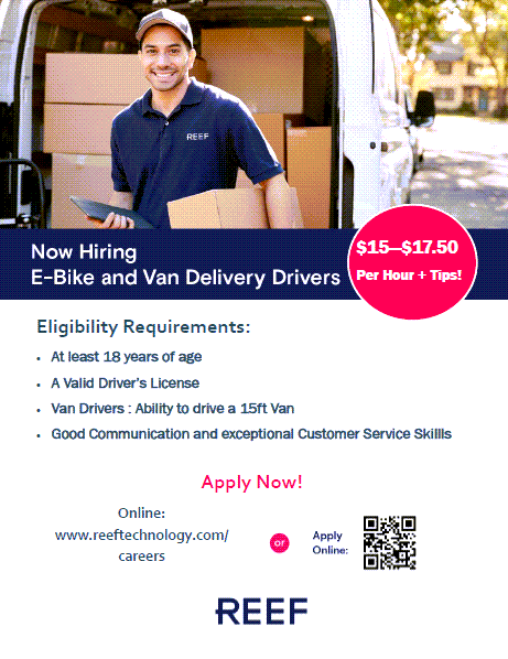 Van Delivery Drivers & Operations Supervisor-REEF Technology-Union City
